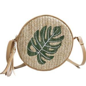 Handbags - 🌿Crossbody Circle Straw Rattan Leaf Motif Bag🌿